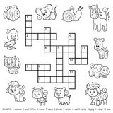 Vector black and white crossword about domestic animals Stock Photos