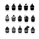 Vector black and white cupcakes icons Stock Photo