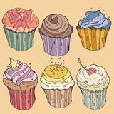 Vector black and white cupcakes illustration  with cream, cherry and sprinkles sugar. Royalty Free Stock Photography