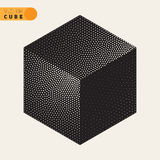 Vector Black and White Dotted Isometric Cube Shape Stippling Halftone Shading Royalty Free Stock Images