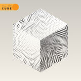 Vector Black and White Dotted Isometric Cube Shape Stippling Halftone Shading Stock Photo