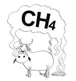 Vector Black and White Drawing or Illustration of Cow Producing Methane Stock Photos