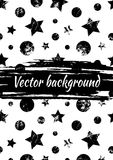 Vector black and white drawn background with geometrical figures, stars, circles and brush stroke. Grunge creative artistic template for greeting card, layout Stock Images