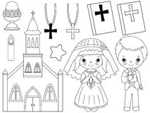 Vector Black and White First Communion Set Royalty Free Stock Photography