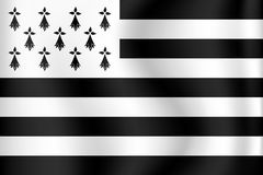 Vector flag of Brittany - Bretagne, France Royalty Free Stock Photos