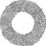 Vector black and white floral frame pattern Stock Photo