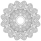 Vector black and white flower mandala composed with flowers, circles and plant leaves, black lines on white paper background Stock Photos