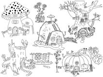 Vector Black and White Forest House, Digital Vector Pumpkin, Amanita, Tree House Royalty Free Stock Images