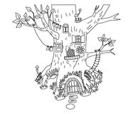 Vector Black and White Forest House, Woodland Magic House. Vector black and white forest house, digital vector forest house, tree house, woodland house, fairy royalty free illustration