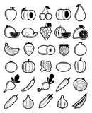 Vector Black and White Fruits and Vegetables Icons Royalty Free Stock Image
