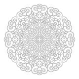 Vector black and white geometric floral  mandala with spirals - adult coloring book page Royalty Free Stock Photos