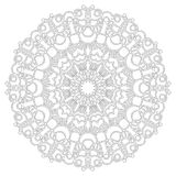 Vector black and white geometric spring  mandala with butterflies - adult coloring book page Stock Photos