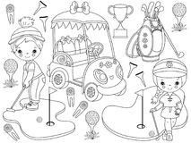 Vector Golf Set with Cute little Girls Playing Golf and Golf Accessories. Vector black and white golf set. Set includes cute little girls playing golf, golf Royalty Free Stock Images