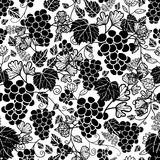 Vector Black and White Grapevines Fruit Repeat Seamless Pattern Background. Can Be Used For Winde Tasting stationery Royalty Free Stock Photos