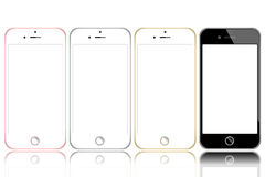 Vector of black white-gray gold pink-gold modern realistic smartphone device isolated Royalty Free Stock Images