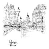Paris in the winter morning, France. Vector black and white hand drawing. Bridge across river Seine Pont Louis Philippe near the Ile de la Cite in the winter vector illustration