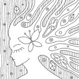 Vector black and white hand drawn illustration of psychedelic woman face with abstract tree, flowers, leaves, dots, butterfly, bac. Kground Decorative artistic royalty free illustration