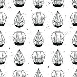 Vector black and white hand drawn seamless pattern with cactuses Royalty Free Stock Photography