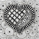 Vector black and white heart pattern Stock Photography