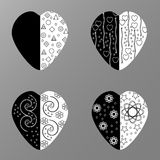 Vector black and white hearts with black and white pattern Stock Photography