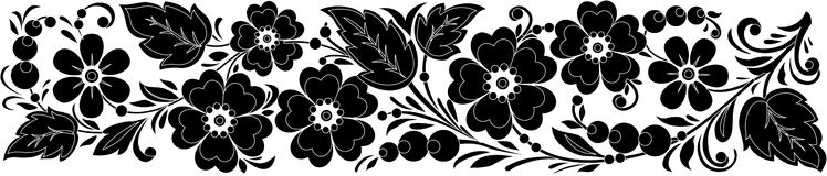 Vector black-and-white hohloma Royalty Free Stock Images