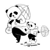 Mother panda in pink dress going for a walk with his little son Stock Photography