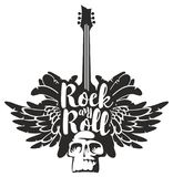 Rock and roll banner with guitar, wings and skull. Vector black and white illustration with an electric guitar, wings, feathers and human skull with inscription Royalty Free Stock Photo