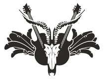 Illustration with guitar, wings and skull. Vector black and white illustration with electric guitars and skull of goat, wings and feathers Royalty Free Stock Image