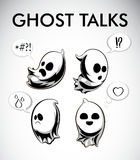 Vector black and white illustration of ghosts. Halloween spirits with different emotions. Monochrome characters. Conversation boxes. Talking happy, scared, sad Stock Photo