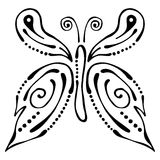 Vector black and white  illustration of insect. Butterfly isolated on the white background. Royalty Free Stock Photos