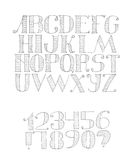 Vector black and white illustration with light english alphabet sequence from a to z and digits from 0 to 9 and punctuation marks. Royalty Free Stock Image