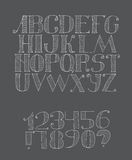 Vector black and white illustration with light english alphabet. Sequence from a to z and digits from 0 to 9 and punctuation marks. Hand drawn hatched white Stock Photo