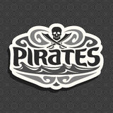 Vector black and white logo for Pirate theme Royalty Free Stock Photography