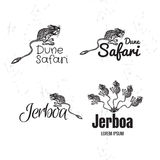 Vector black and white logo set with desert Jerboa. Vector black and white set with desert Jerboa. The Jerboa as main element of logotypes on white background Stock Photography