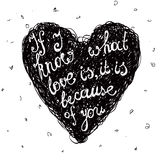 Vector black and white love quote, phrase on the Stock Photos