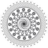 Vector black and white monochrome mandala. Contour spirograph, patterned design element, ethnic amulet. Bright psychedelic mandala on a white background Royalty Free Illustration