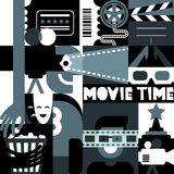 Vector black and white movie concept. Retro cinema festival geometric pattern. Backgrounds for poster, ticket vector illustration