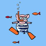 Funny pig with an underwater mask and an air snorkel tube stock illustration