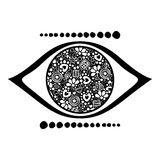 Vector black and white ornamental decorative illustration of human eye Stock Photo