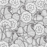 Vector black and white ornamental floral Stock Image