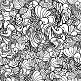 Vector black and white ornamental floral. Background. Pattern for your design wallpapers, pattern fills, web page backgrounds, surface textures Stock Photography