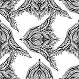 Vector black and white ornamental Lotus Bohemian floral paisley stock illustration