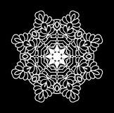 Vector black and white ornaments. White Indian ornament. Mandala lace snowflake. Abstract white islamic flower. Vector henna design. Mandala white decorative royalty free illustration