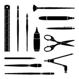 Vector black & white paint tools collection for art and design Stock Photos
