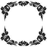 Decorative frame. Vector Black and white pattern with flowers, an ethnic Ukrainian ornament, Decorative frame for design Royalty Free Stock Photos