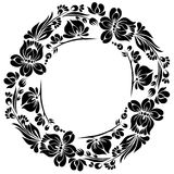 Decorative frame. Vector Black and white pattern with flowers, an ethnic Ukrainian ornament, Decorative frame for design Stock Photo