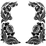 Decorative frame. Vector Black and white pattern with flowers, an ethnic Ukrainian ornament, Decorative frame for design Royalty Free Stock Photography