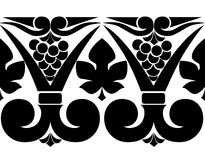 Vector black and white pattern of grapes and leaves. Vector pattern with leaves and grapes Stock Image