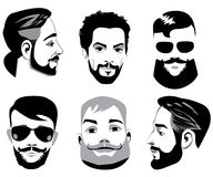 Vector black and white portraits of face men with beard, bearded man, face men, logotype for barbershop Royalty Free Stock Photography