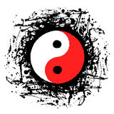 Vector black, white, red graphic illustration of sign of Yin Yang Royalty Free Stock Images